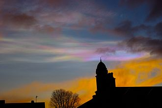 Cloud iridescence - Iridescent cloud at sunset over Aberdeen, Scotland