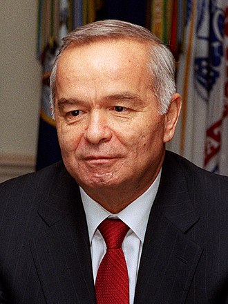 Islam Karimov, the first President of Uzbekistan, during a visit to the Pentagon in 2002 Islam karimov cropped.jpg