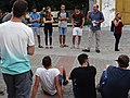 Israeli Visitors in Plaza - Tykocin - Poland (36122250752).jpg