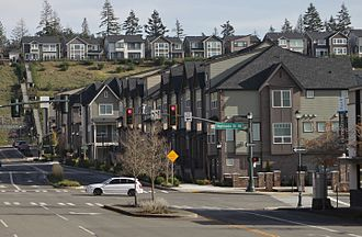 Issaquah Highlands - Looking east on Ellis Drive towards apartments and single-family homes in Issaquah Highlands