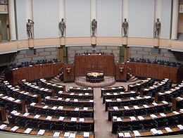 The Parliament of Finland sits in the Parliament House in Helsinki