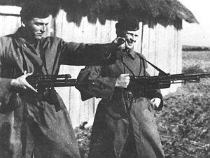 """Jędrusie -  Partisans from """"Jędrusie"""" unit during patrol - Andrzej Skowroński """"Andrzej"""" and """"Inspektor""""."""