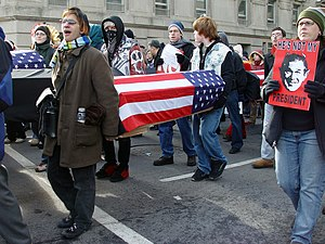 January 20, 2005 counter-inaugural protest - Anti-war protesters carrying coffins at the counter-inaugural protest in Washington, D.C.