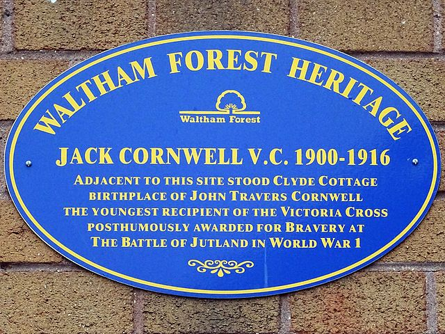 John Travers Cornwell blue plaque - Jack Cornwell V.C. 1900-1916. Adjacent to this site stood Clyde Cottage birthplace of John Travers Cornwell the youngest recipient of the Victoria Cross posthumously awarded for bravery at the Battle of Jutland in World War I