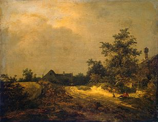 Landscape with some houses and a sand track