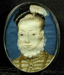 Jacobus Stuart (1556-1625), de latere koning Jacobus I van Engeland, op ongeveer tienjarige leeftijd