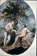 A painting of Adam and Eve falling from the Tree of the Knowledge of Good and Evil