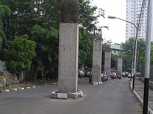 Jakarta Monorail - Support pillars for the stalled monorail project in October 2008