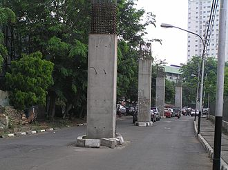 Greater Jakarta LRT - Some of the abandoned Jakarta Monorail project pillars  will be used in the LRT Jabodebek project