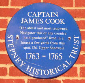The Highway - Blue plaque for Captain James Cook, who lived in the area.