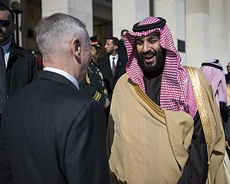 Minister of Defense (Saudi Arabia) - Crown Prince Mohammad bin Salman, in his official position as First Deputy Prime Minister and Minister of Defense, with U.S. Secretary of Defense James Mattis in 2018.