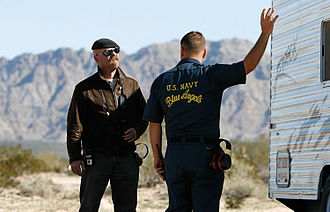 MythBusters (2009 season) - Jamie and a Blue Angels team member prepare for a flyby at Marine Corps Air Station Yuma
