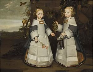 """Jan Jansz. de Stomme - Twin girls aged 4 in 1654 (one day apart) picking grapes from a vine on a wall with a landscape behind. One is holding sprig of flowers and one is holding a tin bucket. Both are wearing white starched aprons. Inscribed """"Ætatis Suæ 4 1654 - 7 Octobris. ætatis Suæ 4. 1654 8 Octobris."""", meaning they died October 7, 1654 at age 4 and October 8, 1654 at age 4. Formerly attributed to Jan Jansz de Stomme"""