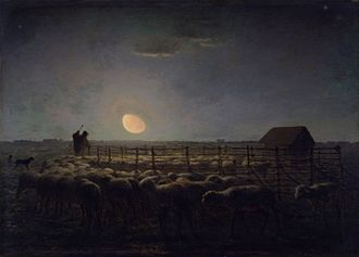 Jean-François Millet - The Sheepfold. In this painting by Millet, the waning moon throws a mysterious light across the plain between the villages of Barbizon and Chailly. The Walters Art Museum.