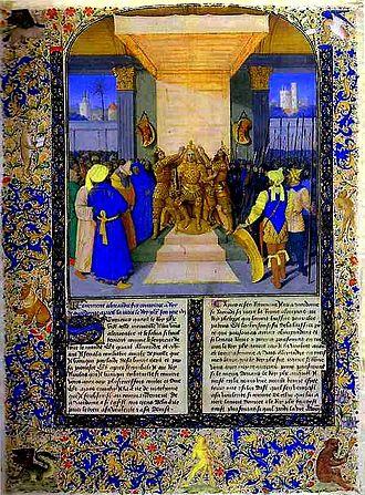 Histoire ancienne jusqu'à César - Jean Fouquet, Coronation of Alexander the Great, 15th-century MS of Histoire Ancienne jusqu'à César and Faits des Romains in the Bibliothèque nationale de France.