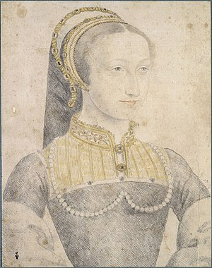 Jeanne d'Albret - Portrait of Jeanne d'Albret by an artist of the School of Francois Clouet, 2nd quarter of the 16th century