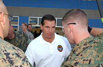 Jeff Hammond (NASCAR) - Jeff Hammond (center) discusses pit road safety with U.S. Marines, courtesy of U.S. Marines