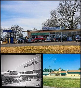 Jennings, Missouri - Top: Business in Jennings, Bottom left: River Roads Mall (demolished), Bottom right: Church in Jennings