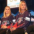 Jenny Potter & Angela Ruggiero at 2010 Winter Olympics US Women's Hockey press event.jpg