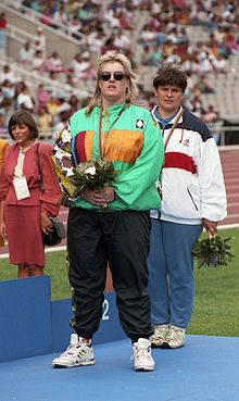 Jodi Willis on Barcelona 1992 Paralympics medal podium.jpg