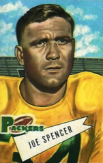 Spencer pictured on a 1952 Bowman football card