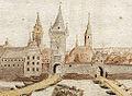 Johann Matthäus Faber (1626 - 1702), Heilbronn im Jahre 1691, Brückentorturm erbaut nach dem Neckarprivileg 1333 (links), und das staufische Burgentor, erbaut vor dem Neckarprivileg 1333 (rechts), als Tränktor 1365 erwähnt.jpg