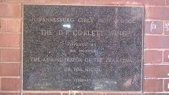 Barnato Park High School - The D.F. Corlett Wing, Opened by his honour, The Administrator Of The Transvaal, Dr. WM. Nicol, 9 February 1955
