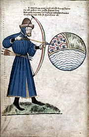 John Gower prepares to shoot the world, a sphere with compartments representing earth, air, and water (Vox Clamantis, around 1400).