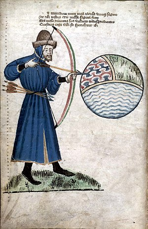 John Gower - John Gower shooting the world, a sphere of earth, air, and water (from a manuscript of his works ca. 1400)