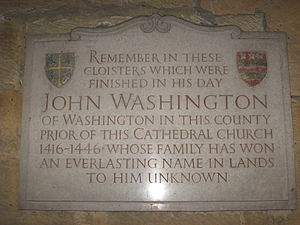 Washington, Tyne and Wear - Plaque in Durham Cathedral's cloisters for John Washington, who was Prior there.