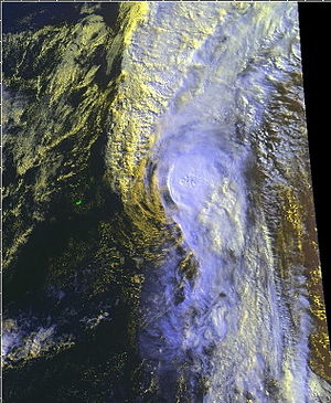 Hurricane Jose (1999) - Satellite image of Jose re-strengthening into a hurricane on October 24, 1999