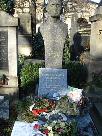 Josef Bican - Josef Bican's grave, plus a headstone for his wife Jarmila, who died exactly ten years after him.