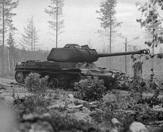 Vyborg–Petrozavodsk Offensive - Soviet IS-2 tank destroyed in Karelia