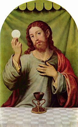 Christ with the Eucharist, Vicente Juan Masip, 16th century. Juan de Juanes 002.jpg