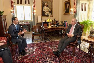 Julian Castro - U.S. Senate Majority Leader Harry Reid meets with Secretary of Housing and Urban Development Nominee Julián Castro on July 7, 2014