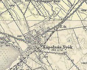 Kápolnásnyék - The map of Kápolnásnyék from the 3rd Military Mapping Survey of Austria Empire.