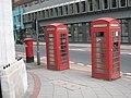 K6 Telephone kiosks and pillar box Pinfold Street Sheffield 20 July 2018.jpg