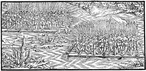Stumpfsche Chronik (1548): Kampfhandlungen auf dem Zürichsee auf Kriegsflössen