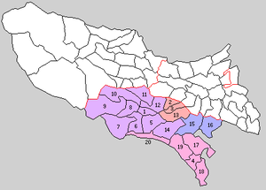 Minamitama District, Tokyo - Administrative divisions in the three Western Tama counties in 1889, Minamitama in colours:  1. is the county seat, the town of Hachiōji. 2. to 20. represent the 19 villages.  Different colours indicate present-day municipalities:  purple – Hachiōji-shi, red – Machida-shi, orange – Hino-shi, blue – Tama (15.) and Inagi (16.) exist without merger since 1889.