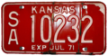 Kansas 1971 license plate.png