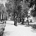 Kapernaum. Monnik wandelend over een pad temidden van archeologische vondsten, Bestanddeelnr 255-3008.jpg