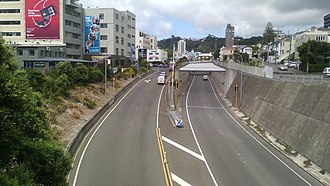 Wellington Inner City Bypass - The trenched section of the bypass is on the right. The Vivian Street offramp on the left was the northbound motorway onramp prior to the opening of the bypass.