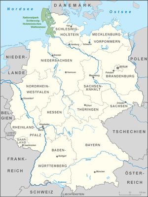 Schleswig-Holstein Wadden Sea National Park - Image: Karte Nationalpark Schleswig Holsteinisches Wattenmeer