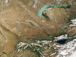 Geography of Kazakhstan - Portions of Kazakhstan (top) and Kyrgyzstan at the bottom. The lake at the top of the image is Lake Balkhash.