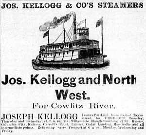 Northwest (sternwheeler) - Advertisement placed in the Oregon Mist (St. Helens), by Kellogg Trans. Co., August 21, 1891.