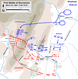First Battle of Kernstown - Actions at the First Battle of Kernstown, 11 a.m. to 4:45 p.m.