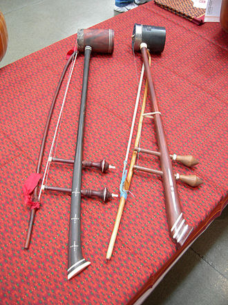 Traditional Cambodian musical instruments - A pair of tro