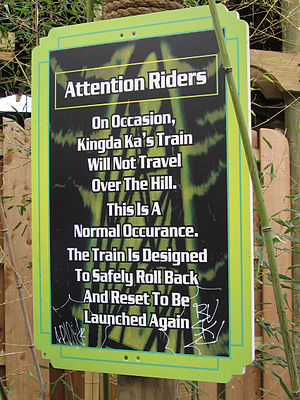 Kingda Ka - Kingda Ka rollback warning sign