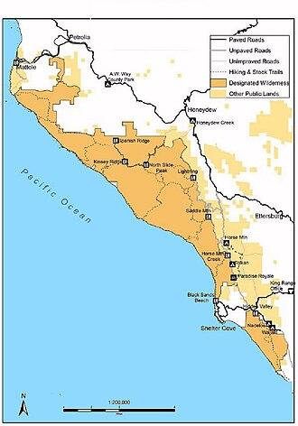 King Range Wilderness - Image: Kingmap