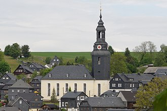 Slate - Slate-faced church and homes in Wurzbach, Thüringen, Germany